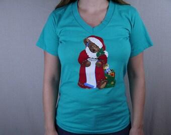 Vintage Handmade Christmas Santa Claus Bear V Neck T Shirt