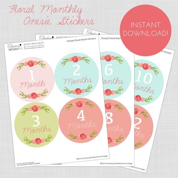 Printable Monthly Onesie Stickers Baby Girl Floral Milestone Vintage Instant Download