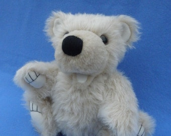 Polar bear - Evan, artist bear, jointed plush bear, polar bear cub