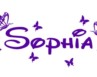 Vinyl Name Decal- Name Sticker- Monogram Sticker- Personalized Butterflies Name Nursery - Wall Decal - Wall Sticker- Girls bedroom decal