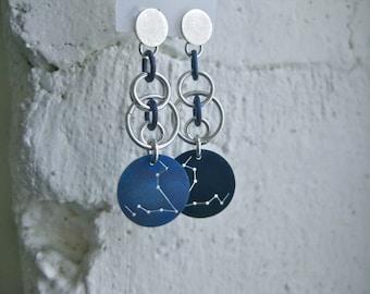 Pisces Zodiac Constellation Orb Chain Earrings