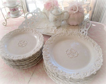Shabby White Scrolly Romantic White Distressed Salad Plate