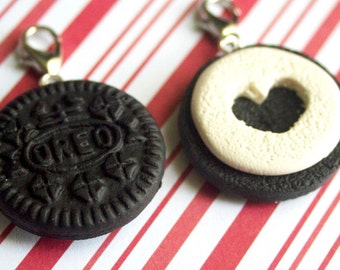 best friend charms kawaii polymer clay charms miniature food jewelry polymer clay food charm bff charms oreo charm best friend gift cookie