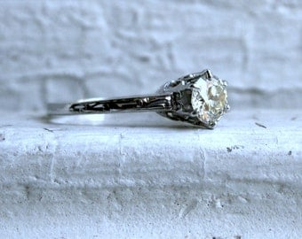 Ornate Antique 14K White Gold Diamond Solitaire Engagement Ring - 1.00ct.