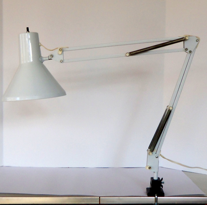 Vintage Luxo Architect Lamp L 1 White Mid Century Clamp Light