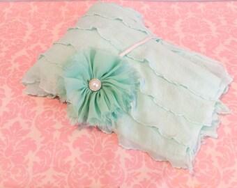 READY TO SHIP/Winter Mint Ruffle wrap/ Newborn wrap/ Newborn photo prop