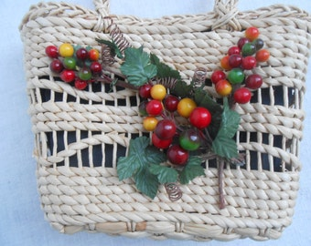 Vintage Woven Purse with Cherries Decoration.