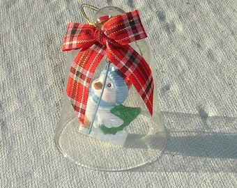 Glass Christmas Bell with Penguin Figurine Ornament - Christmas in July Sale