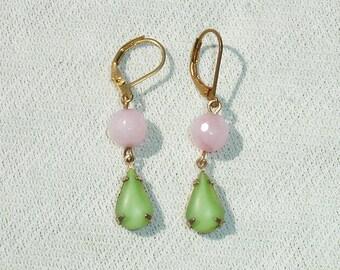 Green & Pink Destash Dangle Earrings with Brass Leverbacks
