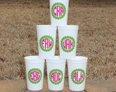 5 monogrammed 20 oz party favor cups
