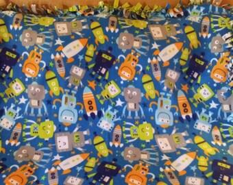 Robots and Rockets fleece tie blanket