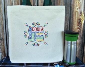 Doula word art tote, embroidered bag, doula subway art bag, doula gift
