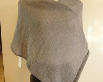 Grey  poncho,mohair wool yarn,very soft accessory woman
