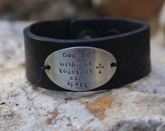 Black Double Snap Leather Cuff with personalized pewter oval