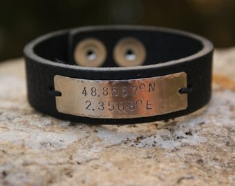 Pebble Black Leather Cuff with Personalized Nickel Plate