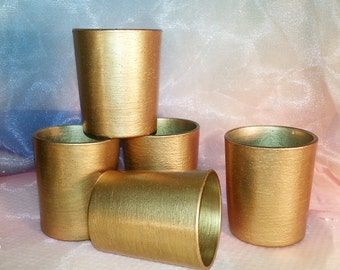 12 Medium Gold  Votive Candle Holders for Weddings and Parties, Glitter and Shimmer, Holiday Gift Ideas