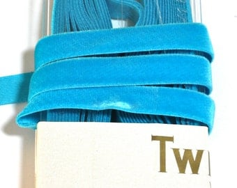 "Velvet Ribbon -3 yards x  5/8"" - Vintage Velvet Ribbon - All Rayon, Color: Saphire - Twilight Brand"