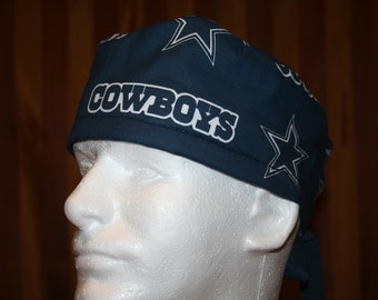 Men's Tie Back OR Scrub Hat with SWEAT Band--Dallas Cowboys Blue