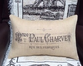 """French Country Burlap Pillow Cover - French Vintage Typography Burlap - Fits 12"""" x 18"""" Pillow Insert - Shabby Chic - SALE"""
