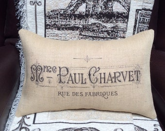 "French Country Burlap Pillow Cover - French Vintage Typography Burlap - Fits 12"" x 18"" Pillow Insert - Shabby Chic"