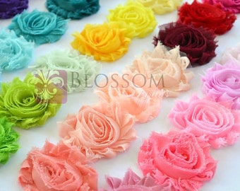 3 YARDS - Chiffon Shabby Rose Trim - U pick the colors - 72 colors to choose from - DIY Flower Headbands - Bulk Wholesale - Blossom Supplies