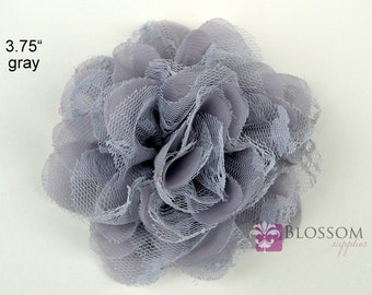 GRAY Flowers - The Charlotte Collection - Small Shabby Chiffon and Lace Puff Flowers - DIY Headbands - Fabric Flower Head Blossom Supplies