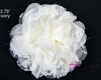 IVORY Flowers - The Charlotte Collection - Small Shabby Chiffon and Lace Puff Flowers - DIY Headbands - Fabric Flower Head Blossom Supplies