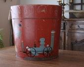 1940s Folk Art Wooden Bucket Hand Painted by Helen Hume Folk Artist