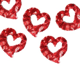 9 PCS Red Sequins Heart Shaped Patch Applique