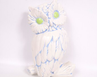 Vintage Ceramic Owl Wall Hanging Plaque Hand Painted Baby Blue Lime Green Owl Decor Retro