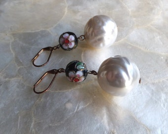 Cloissione and Pearl Reclaimed Earrings