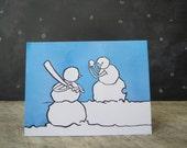 Baseball Christmas Holiday Card, Snowmen having fun series