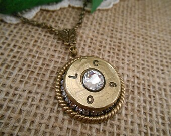 Bullet Jewelry ~ 50 Caliber BMG Rifle Casing ~ Rhinestone Necklace ~ American Sniper