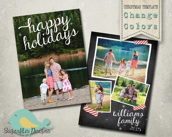 Christmas Card PHOTOSHOP TEMPLATE - Family Christmas Card Chalkboard 123