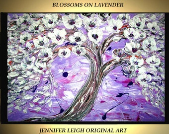Original Large Abstract Painting Modern Contemporary Canvas Art White Purple Blossom Tree 36x24 Palette Knife Texture Oil J.LEIGH