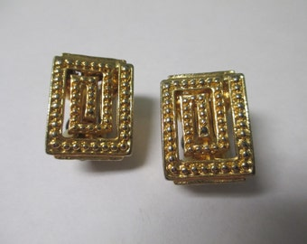 Vintage clip on earrings, gold toned square metal, no markings