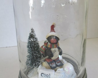"""Christmas snowglobe   """" Cool Friend"""" diorama in a mason jar with skiing penquin, and bottle brush tree in the  crystal snow scene ooak"""