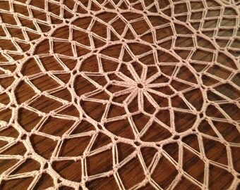 Pink Doily in Bamboo Viscose / Placemat / Doily / Home Decoration / Pink Crochet / lace / tabletop decor