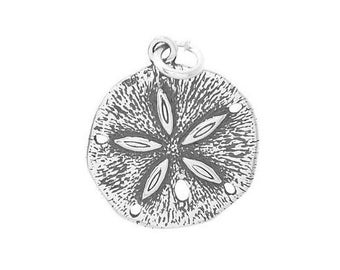 Sterling Silver Large Sand Dollar Charm (Flat Back Charm)