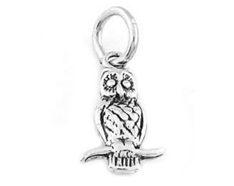 Sterling Silver Owl Sitting On Branch Charm (3d charm)
