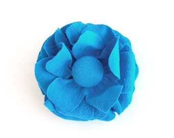 Flower Hair Clip - Fabric Flower Brooch - Turquoise Blue Flower - Accessory, Repurposed, Recycled Tshirt Jersey Knit Fabric Flower Pin