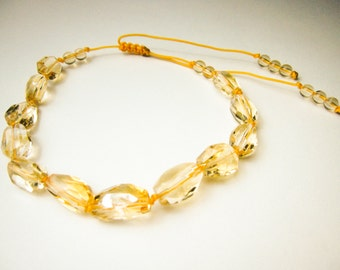 Natural Semi precious Gemstone Clear Top quality AAA Yellow Gold Tone Citrine Quartz Crystal Stone faceted Bracelet Adjustable
