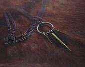 Brass & Black Spike Necklace