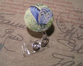 Retractable Badge Holder, Fabric Butterfly ID Holder; Butterfly Badge Reel, Button, ID Clip, Badge Holder