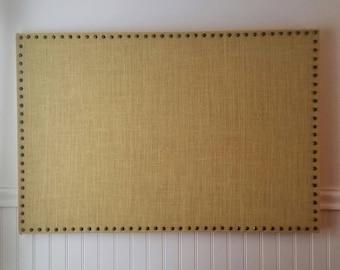Buttercream Burlap Pin Message Board, Cork Board, 36x24 with Antique Gold Nailhead Trim
