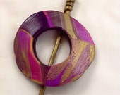 babiart purple and gold Polymer Clay Shawl Pin, Scarf Pin