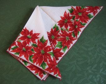 Christmas Poinsettia Handkerchief Cotton Print Hankie a Pretty Festive Vintage Holiday Party Lady's Purse Accessory