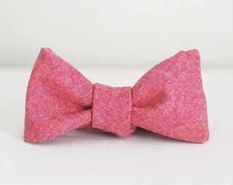 Chambray Bow Tie - Brick Red