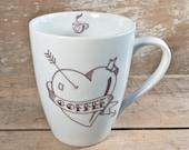 Large Coffee Love Cup, Tattoo Art, Classic Pin up Girl in Mug, Coffee Heart, 14 oz Coffee Lover Mug, Pinup Woman, Handmade Ready to Ship