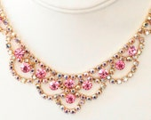 Pink AB Rhinestone Bib Necklace Earring Set
